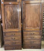 A pair of George IV mahogany cabinet doors, each door width 58 x 155cm