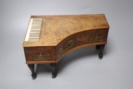 An early 19th century French mahogany 'pianoforte' necessaire case, 29 x 19cmCONDITION: Casework