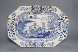 An 18th century bow octagonal blue and white meat plate, perhaps Bow, 38cm wide