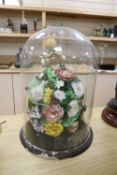 A Victorian shellwork flower display, height 50cm overall