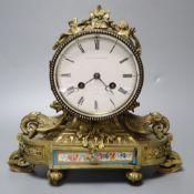 A 19th century ormolu and porcelain mantel clock, signed Albert Klaftenberger, height 26cm