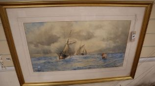William Henry Pearson, watercolour, 'Off The Solent', signed, 36 x 67cm