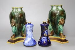 A pair of Victorian majolica vases, height 16cm and two Doulton Burslem Corolian ware miniature