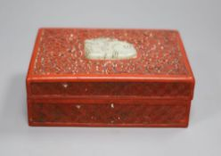 A Chinese lacquer and jade box, width 14cm depth 10cm height 5cm