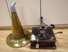 A table gramophone, The Shamrock, with horn, needles and two 78rpm records