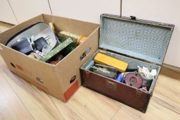 A quantity of assorted collectables to include fishing reels, military buttons, etc.