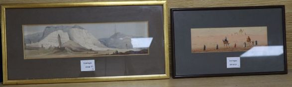 Augustus Lamplough, watercolour, Desert landscape, 7 x 23cm, and a coloured lithograph of Caves in a