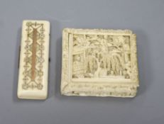 A 19th century Chinese ivory puzzle box and an early 19th century gold pique ivory toothpick box (2,