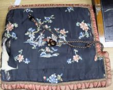 A 19th century Chinese embroidered silk cushion cover