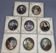 Eight 19th century portrait miniatures in old piano key frames