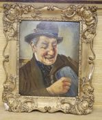 Atelier Absricie, oil on card, Portrait of a beer drinker, signed and inscribed verso, 26 x 20cm