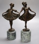 After Preiss - A pair of modern French bronzes of dancing girls, on marble plinths, 26cm high