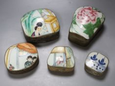 Five Chinese porcelain and metal boxes, each inset with painted porcelain cover, largest 14cm high