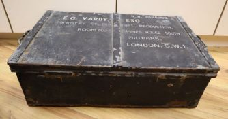 An RAF ensign flag, probably WWII and an Air Ministry metal trunk dated 1943
