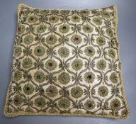 A 19th century silk and metal brocade cushion, 34cm
