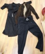 A 1930's-40's ladies suede coat and a later suede jacket and a pair of gentleman's trousers