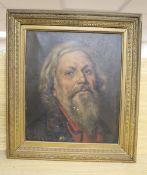 English School c.1900, oil on canvas, Portrait of a bearded man, 35 x 30cm