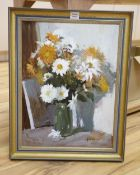 Edward Wesson RI, RBA (1910-1983), oil on board, Daises and Chrysanthemums, signed, 59 x 44cm