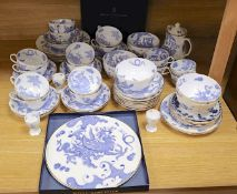 A Royal Worcester Blue Dragon part tea serviceCONDITION: One 23cm plate - cracked across, almost