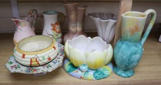 A group of post-war Clarice Cliff including a My Garden vase and jug, Water Lily bowl, 21cm wide,