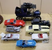 Eight tinplate model cars including a Ferrari and a Corvette