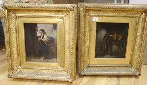 19th century Continental School, pair of oils on canvas, Returning soldier at a window and Girl at a