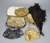 Five evening purses and two fans