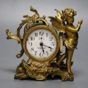 An American ormolu timepiece, New Haven Clock Co., movement in rococo style case with cherub