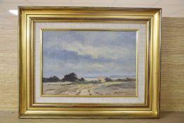 Ronald Crampton (1905-1985), oil on canvas, Norfolk landscape, signed, 21 x 31cm signed, 9 x 12.