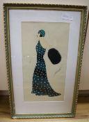After Erté, gouache, Woman in a green dress, bears signature, 38 x 20cm