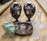 Two pairs of vases, 33cm, glassware and wood plate