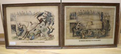 Thomas Worth, pair of coloured lithographs, 'A Crack Trotter', publ. Currier & Ives, overall 32 x