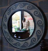 A circular mosaic wall mirror, 94cm diameter