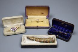 Four assorted brooches, including Edwardian 15ct, white opal, seed pearl and diamond crescent bar