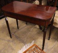 A Regency mahogany folding card table, width 91cm, depth 45cm, height 75cm