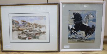 Francis Kwok Peng Kin, watercolour, Harbour scene, signed, 21 x 32cm and a study of horses by Vigil