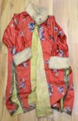 A red silk blue embroidered Chinese robe, with fur collar and cuffs added later, 110cm
