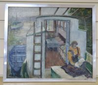 Attributed to Ronald Ossery Dunlop (1894-1973), oil on board, Woman on a canal boat, bears