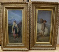 Neapolitan School, pair of oils on panel, Italian peasants in a landscape, 22 x 9.5cm