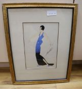 After Erté, gouache, Woman in a blue dress, bears signature, 28 x 19cm
