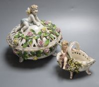 Two German pot-pourri bowls with cherubs, tallest 19cmCONDITION: Several chips, losses and areas
