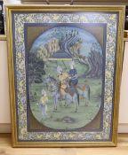 Indian School, gouache on fabric, Nobleman in a landscape, 96 x 73cm