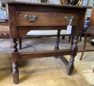 An 18th century and later oak side table, width 66cm, depth 47cm, height 71cm