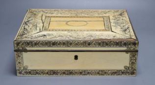 A Vizagapatam ivory sewing box, early 19th century, with interior fittings, 31cm wideCONDITION: