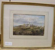 Conrad H. R. Carellli (Italian 1869-1956), watercolour, View of an Italian hill town, 15 x 22.5cm