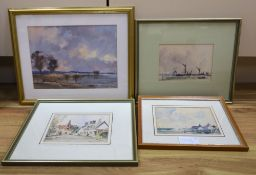 Peter Gilman (1928-1984), oil and three watercolours, Estuary scene, The Causeway, Horsham and two