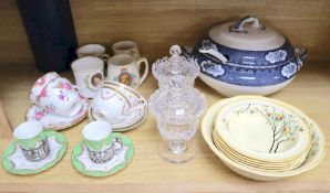 A pair of Coalport silver mounted coffee cans and saucers, together with other mixed ceramics and