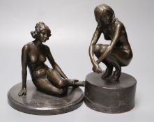 Two modern French bronzes of seated nudes on marble plinths, tallest 22cm