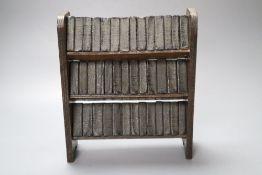 Shakespeare's Works in miniature, 40 volumes on original three-shelf open bookcase, 20cm wide