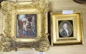 19th century English School, oil on ivory, Portrait miniature of a gentleman, 8 x 6cm and an
